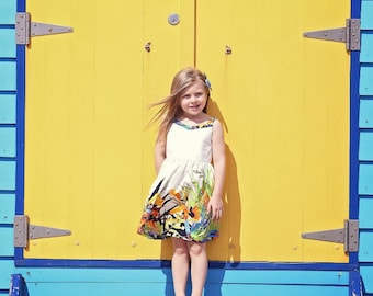 Bells Beach Casual Play with shirred back Dress PDF Sewing Pattern by Ainslee Fox for confident beginners to sew for little girls size 1-10