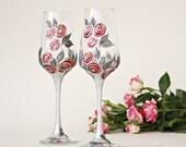 Champagne Glasses, Wedding Glasses, Wine Glasses, Shabby Wedding, Summer Wedding, Hand Painted, set of 2