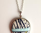 Pendant Necklace:  Modern Patchwork Necklace, Fabric Pendant, Navy, Sky and Cream