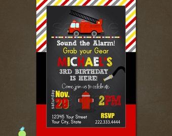 Fire Truck Invitation, Printable File, Firetruck Invitation, Firefighter invite, Fire truck Chalkboard, Fireman invitation