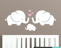 Cute Elephants Wall Decal - Elephant Family Bany Nursery Wall Sticker - WAL-A153