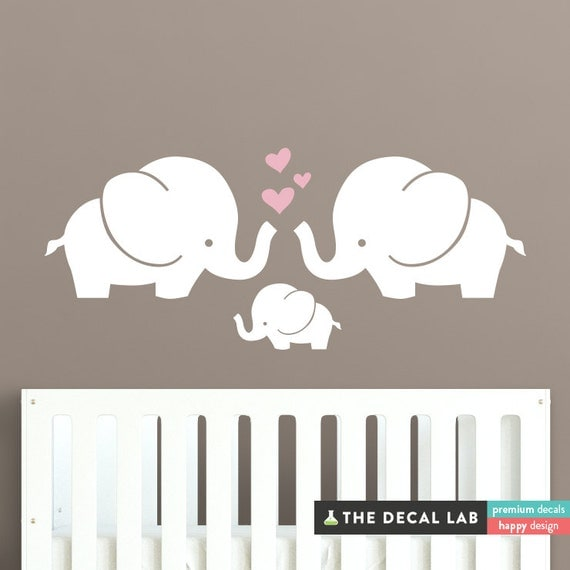 Cute elephants wall decal elephant family baby room wall for Baby room sticker decoration
