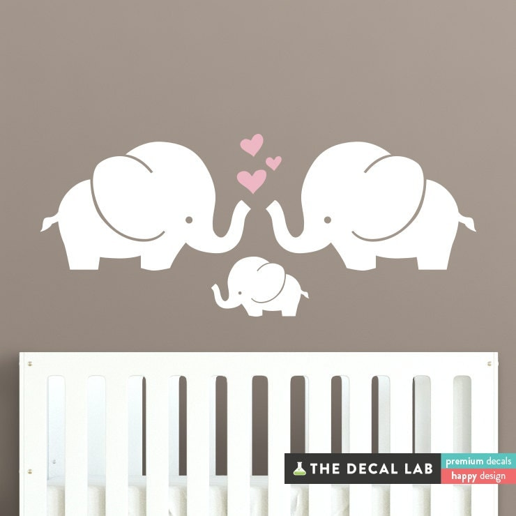Elephant family wall decal cute baby nursery decal sticker for Baby room decoration wall stickers