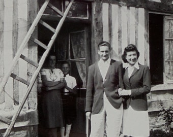 1940's Photo - Couple Outside an Old French Norman House