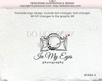 1064-3 photography logo, Custom logo, Premade Logo Design, sketch camera eyelash lens eye photography logo watermark by princessmi