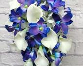 Blue orchid cascade wedding bouquet brides bouquet