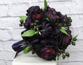 Bridal bouquet - Wedding bouquet - Plum black wedding bouquet - Ranunculus berry bouquet - silk wedding flowers