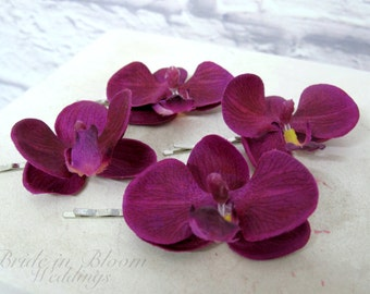 Real touch orchid bobby pins Wedding hair accessories Purple white orchids Set of 4 Bridal hair accessory