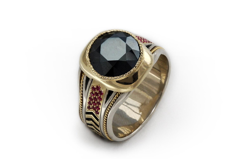 black spinel 14k gold men 39 s ring gemstone cocktail ring. Black Bedroom Furniture Sets. Home Design Ideas