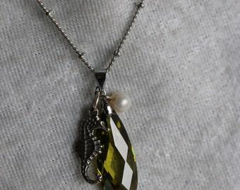 Green Crystal Seahorse Necklace