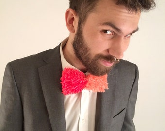 Handmade Neon Red and Salmon Two-Tone Yarn Tie - O/S // Unisex // Clip-On // OOAK