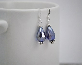 Cobalt Blue Earrings, Blue Drop Earrings, Faceted Crystal Earrings, Teardrop Earrings, Crystal Earrings, Metallic Earrings, Free Shipping