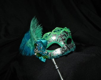 Venetian Masquerade Mask in Aqua, Mint and Silver