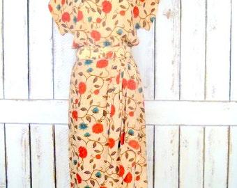 Vintage Liz Claiborne silk batik tribal print floral midi dress/brown/red floral dress/boho dress