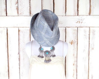 Vintage grey blue stitched fedora/cigar style fedora hat