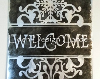 "WELCOME scrolled snowflake 8""x12"" etched metal house sign Chalkboard style"