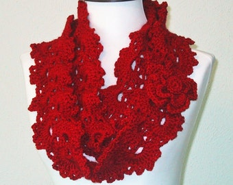 Red Lacy Scarf with Flower - Hand Crocheted - Soft Acrylic Yarn - Spring Fashion Accessory - Convertable-Infinity Scarf - Nice Gift