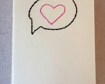 Hand Embroidered Moleskine Notebook - Conversation Heart