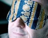 SALE -Sleep mask for men or women - unisex -Mustard paisley print- adjustable