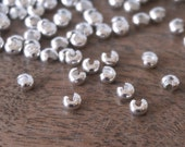 3mm Crimp Bead Covers. Silver Plated Knot Covers   (386FD)