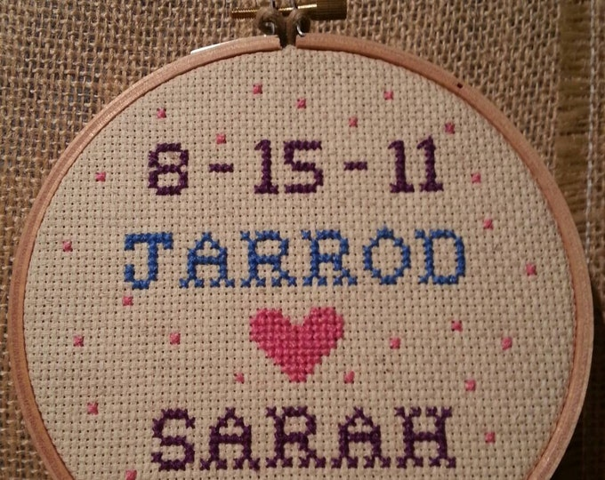 Custom Anniversary Wedding Gift Needlepoint Wooden Hoop Framed Needlepoint with Throw Pillow Option