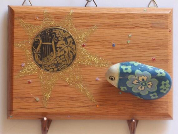 Sale - 40% off (regular price 39.90) Decorative Key Holder Hook - Ready to ship - Wall Decor Organizer -Wood Key Hook