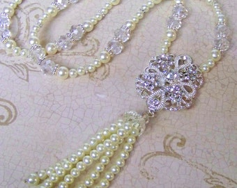 Pearl Necklace - Great Gatsby Jewelry - 1920s Necklace, Pearl Jewelry, Great Gatsby Necklace, Flapper Jewelry, Tassel Necklace, Flapper