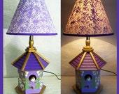 Lilac Birdhouse Nightlamp with Shade