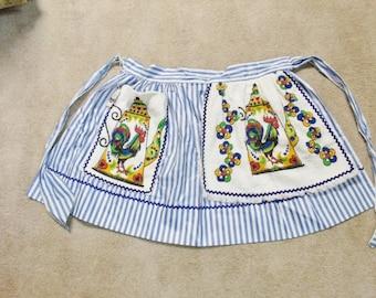 Vintage Apron Beco Original NOS with tag Rooster teapot motif large pocket and tea towel added