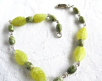 Green Leaves Bracelet, New Jade, Russian Serpentine, Natural Gemstone, Lime, Olive, Handmade Jewelry, Gift Idea, Gift Box Included, Woodland