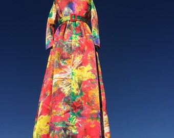 TORI RICHARD Psychedellic Dress / Hawaiian Maxi Dress