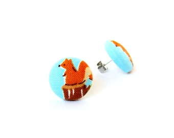 SALE Squirrel stud earrings - kids button earrings - children fabric earrings blue orange brown animal kawaii