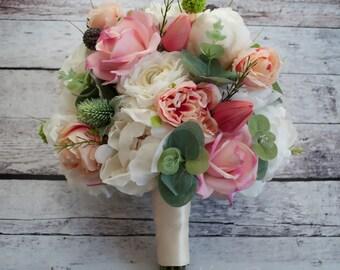Peony Bouquet - Peony Ranunculus Rose Garden Wedding Bouquet