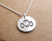 Small Mother and Twin Sheep Necklace, Mom and Two Kids, New Mom Jewelry, Twin Jewelry, Fine Silver, Sterling Silver Chain, Made To Order