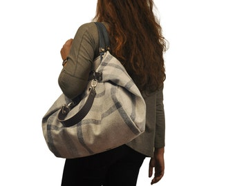 Handmade shopping bag,Julia in plaid cotton canvas with leather details MADE TO ORDER From iyiamihandbags