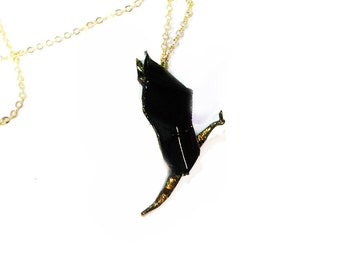 "Origami Dragon Necklace Black and Gold Flying Dragon Pendant 30"" Chain Fantasy Jewelry"