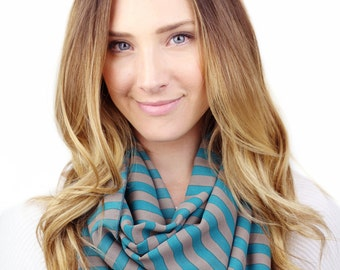 TEAL STRIPE SCARF, london, teal and taupe infinity scarf