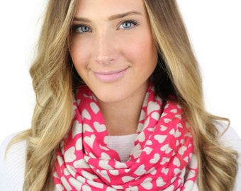 PINK HEART SCARF, ruby, pink heart print infinity scarf