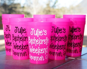 Bachelorette Weekend Cups - Custom Party Cup - Personalized Girl's Weekend Tumbler - Stadium Cup
