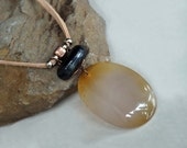 Agate Stone Pendant Necklace, Boho Necklace, Stone, Leather Necklace