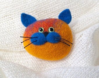 Cute Multicolor Cat - Felt Jewelry - Handmade Brooch - Cat