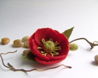 Red Flower - Felt Brooch