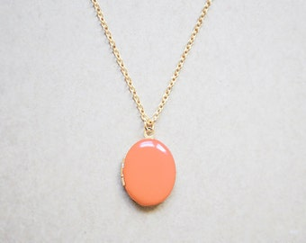 Women's Gold Locket - Orange Creme Charm Necklace
