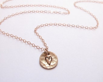 Little Heart Necklace // Engraved Necklace // Hammered Heart Necklace // Hand-Stamped // Friendship Necklace // Boyfriend/Girlfriend