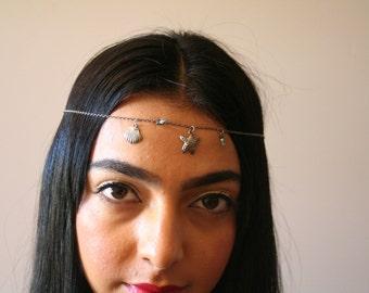 Beach Sea Shell and Starfish Chain Halo Headband- boho- headpiece- cleopatra- art deco- flapper- upcycled - festival