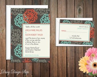 Wedding Invitation - Mod Floral Sketch - Invitation and RSVP Card with Envelopes