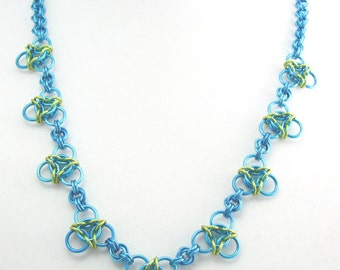 ON SALE Blue Jade Vine Chainmaille Statement Necklace