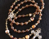 Catholic Rosary -  Bronze Crucifix and Center, Brown Fasceted Glass & Czech Crystal. Free Rosary Pouch.