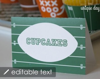 Football Food Labels -Text Editable & Printable - Buffet Labels - Place Cards- Instant Download// FOO -09