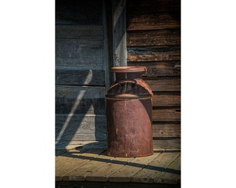Vintage Creamery Milk Can by the old homestead in 1880 Town Western Museum in South Dakota No.8082 A Fine Art Still Life Photograph